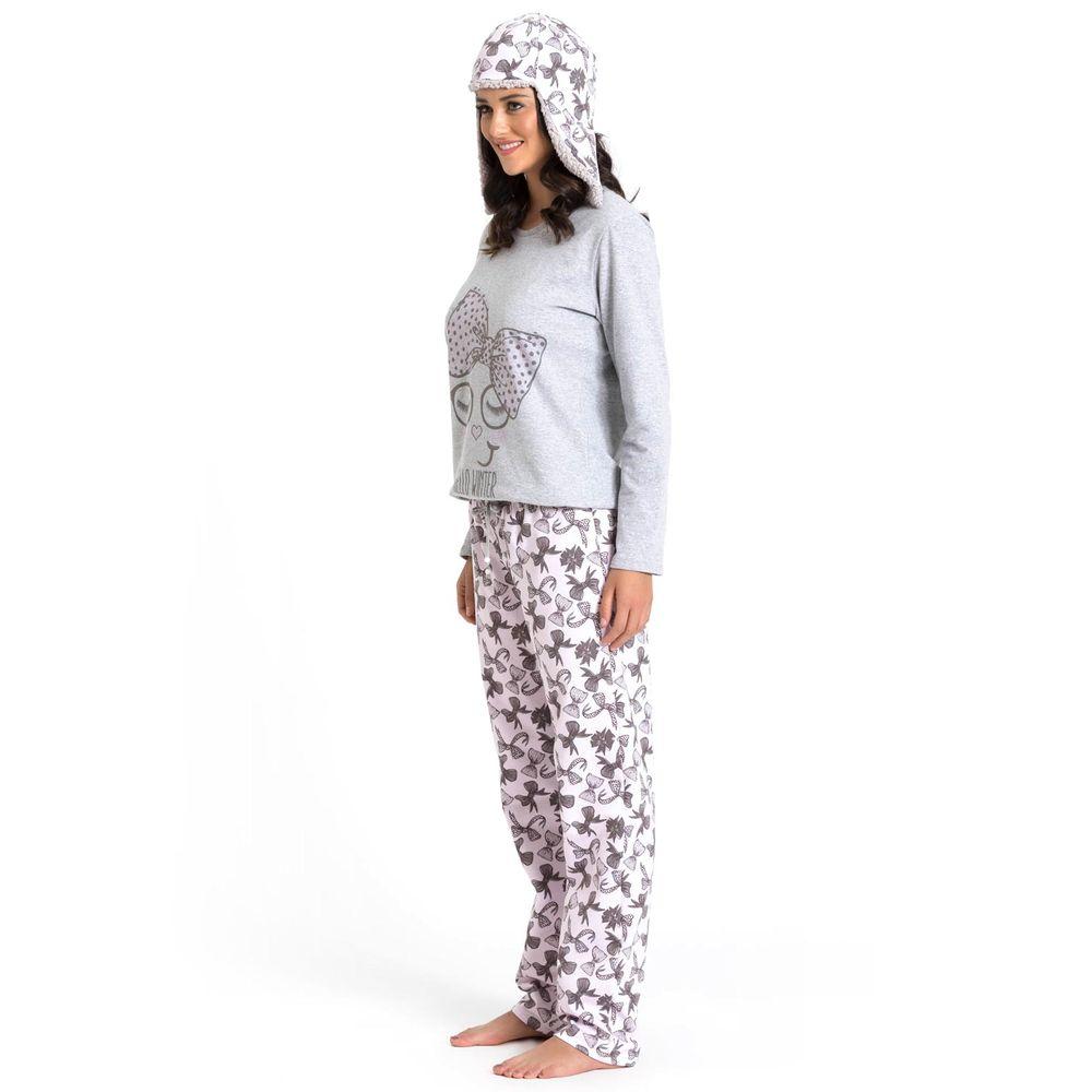 Pijama-Feminino-Recco-Flanelado-Lacos-com-Touca