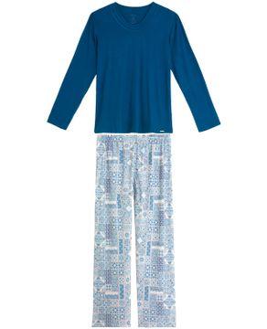 Pijama-Feminino-Recco-Longo-Viscolycra-Azulejo