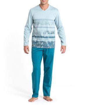 Pijama-Masculino-Recco-Malha-Flanelada-Listras