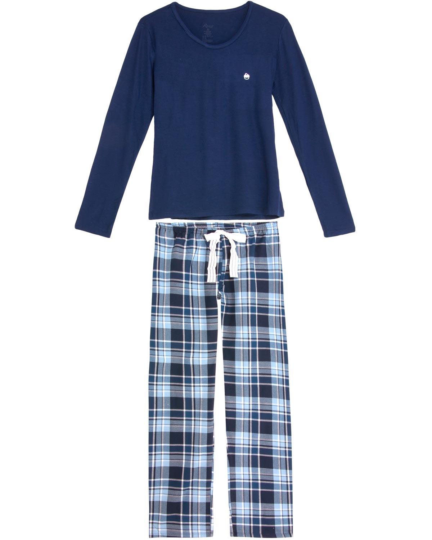 6c3b6165e4d4e9 Pijama Feminino Recco Viscolycra Calça Xadrez - Pijama Online