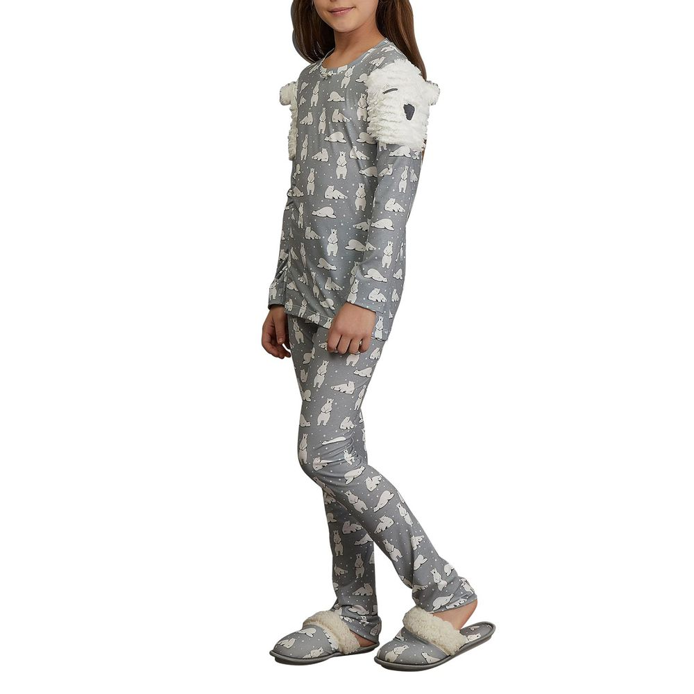 Pijama-Infantil-Feminino-Lua-Lua-Urso-Polar-Peluciado