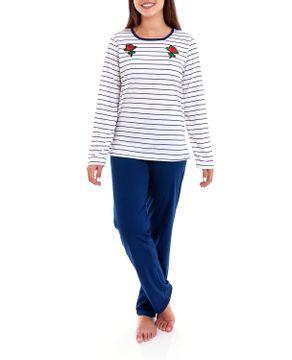 Pijama-Feminino-Lua-Cheia-Longo-Navy-Bordado