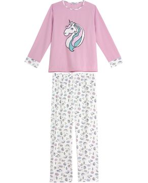 Pijama-Feminino-Lua-Cheia-Longo-Flanelado-Unicornio