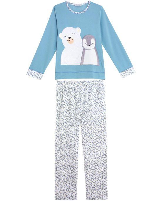 Pijama-Feminino-Lua-Cheia-Longo-Flanelado-Urso-Pinguim