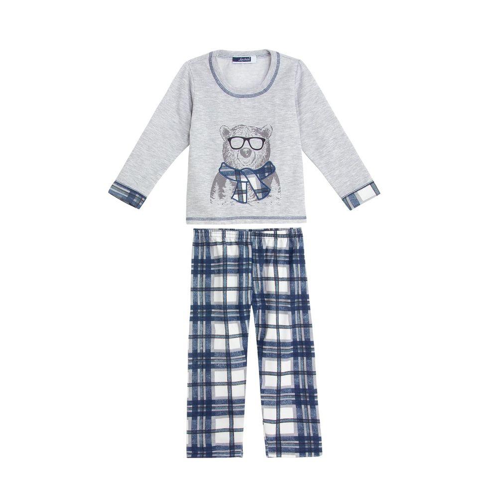 Pijama-Infantil-Masculino-Lua-Cheia-Calca-Xadrez-Urso