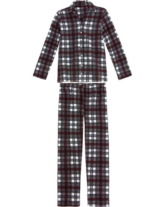 Pijama-Feminino-Recco-Longo-Soft-Aberto-Xadrez