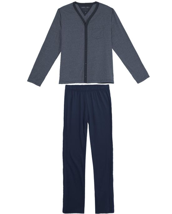 Pijama-Masculino-Laibel-Longo-Aberto-Malha-Pontos