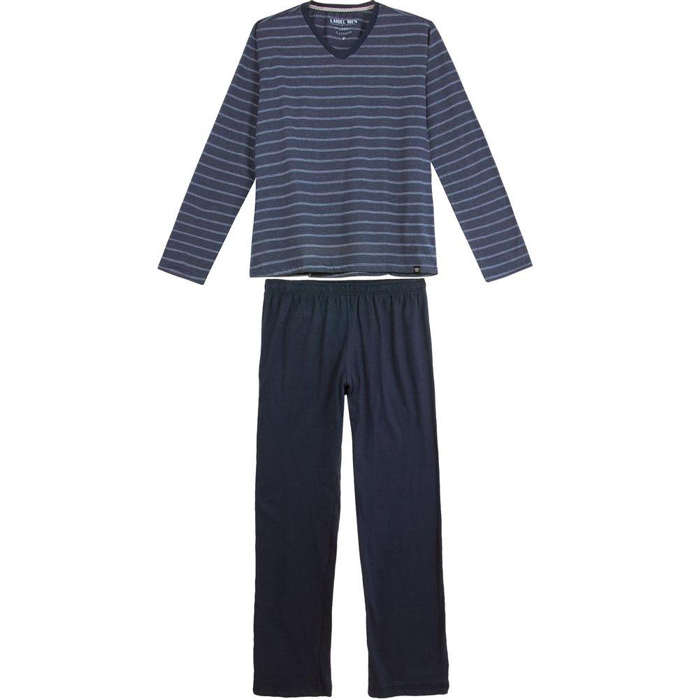 Pijama-Masculino-Laibel-Longo-Algodao-Listras