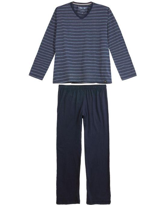 Pijama-Plus-Size-Masculino-Laibel-Longo-Algodao-Listras