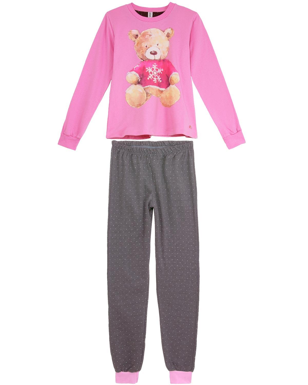 7a3032744 Pijama Feminino Laibel Moletinho Flanelado Urso - Pijama Online