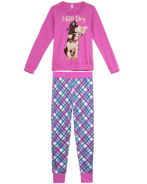8df0df463 Pijama Feminino Laibel Longo Algodão Bulldog Nerd - Pijama Online