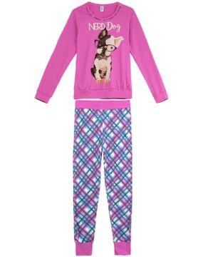 Pijama-Feminino-Laibel-Longo-Algodao-Bulldog-Nerd