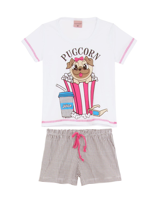64882dfecd1e82 Shortdoll Infantil Lua Encantada 100% Algodão Pug - Pijama Online