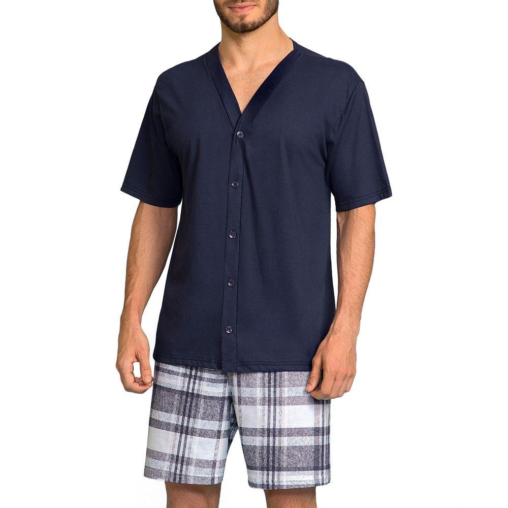 Pijama-Masculino-Lua-Encantada-Aberto-Short-Xadrez