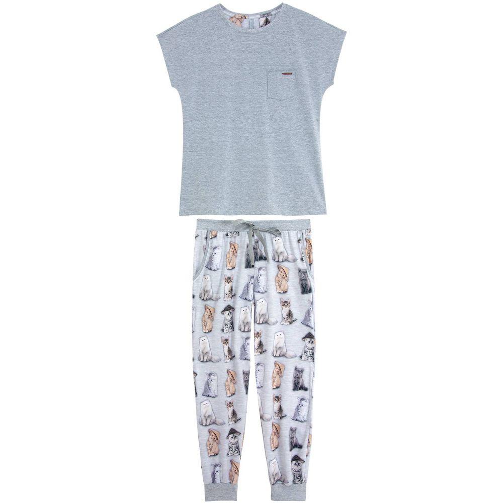 Pijama-Feminino-Lua-Lua-Manga-Curta-Calca-Gatos