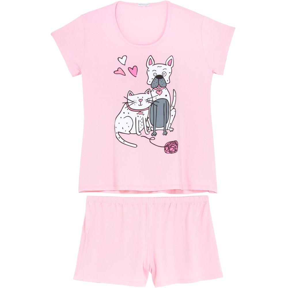 Shortdoll-Plus-Size-Homewear-Viscolycra-Cao-e-Gato