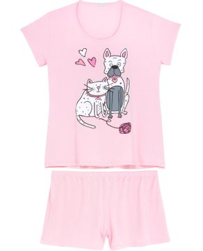 Shortdoll-Plus-Size-Homewear-Viscolycra-Cao-e-Gato