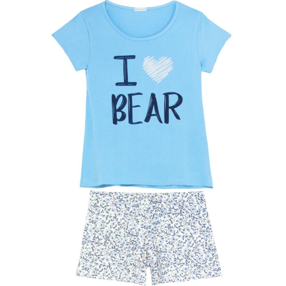 Shortdoll-Homewear-Viscolycra-Floral-I-Love-Bear