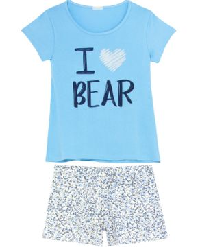 Shortdoll-Homewear-Viscolycra-Floral-I-Love-Bear
