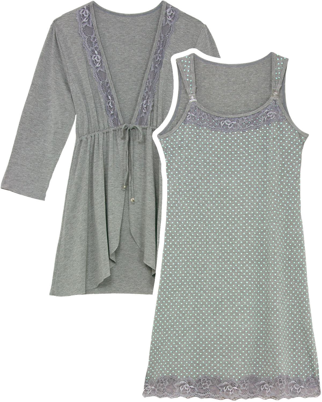 Camisola Amamentação com Robe Recco Alça Poá - Pijama Online 0c4b910b6e577