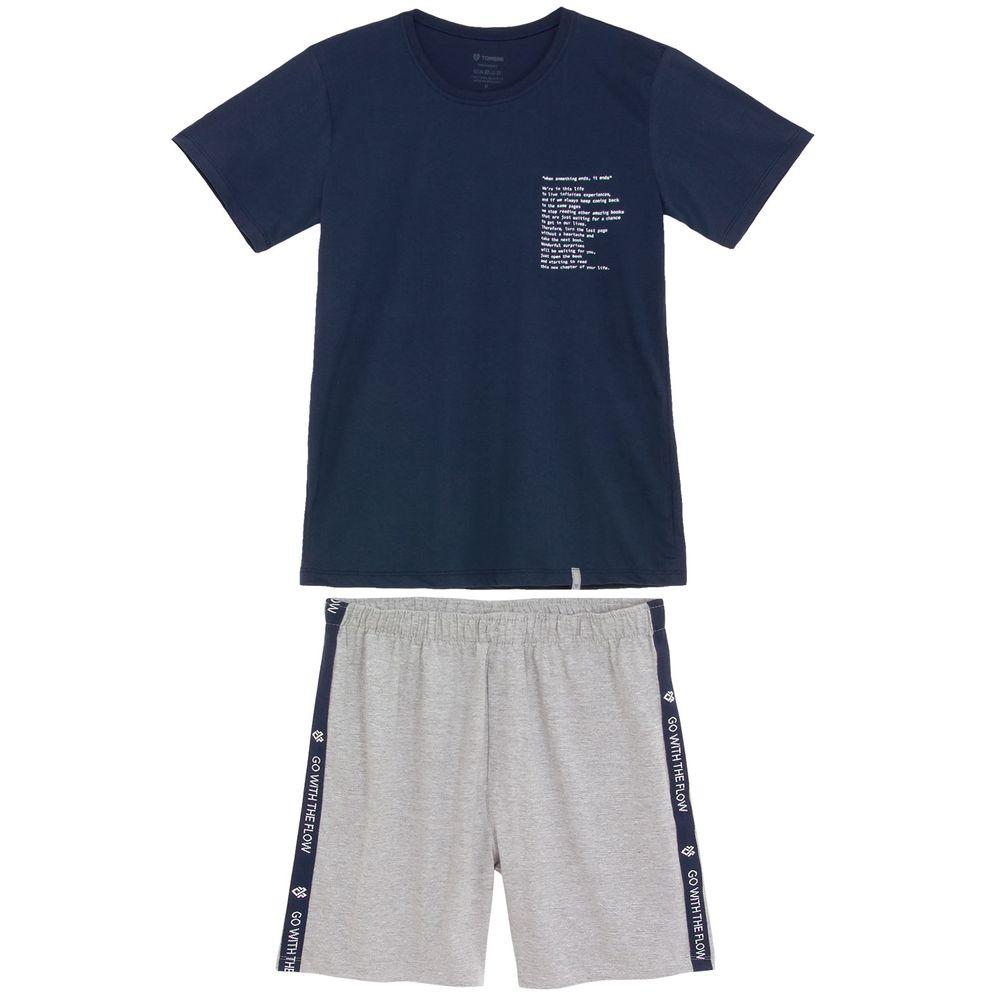 Pijama-Masculino-Tombini-Bermuda-Algodao-Texto