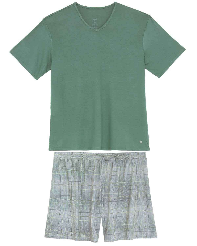 aa51303c6 Pijama Masculino Recco Viscolycra Bermuda Linhas - Pijama Online