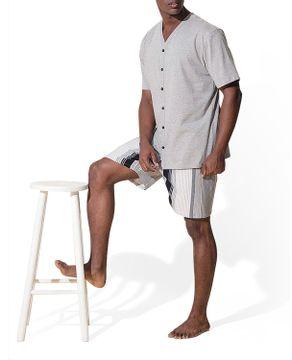 Pijama-Masculino-Recco-Aberto-Bermuda-Listras