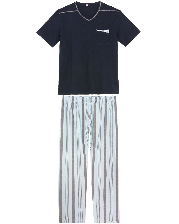 08d0a5ce21ce43 Pijama Masculino Recco Algodão Calça Listras - Pijama Online