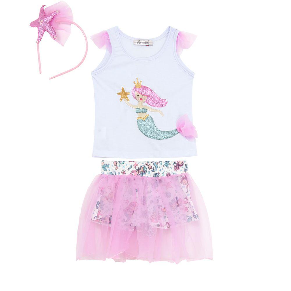 Pijama-Infantil-Feminino-Lua-Cheia-Regata-Saia-Tiara