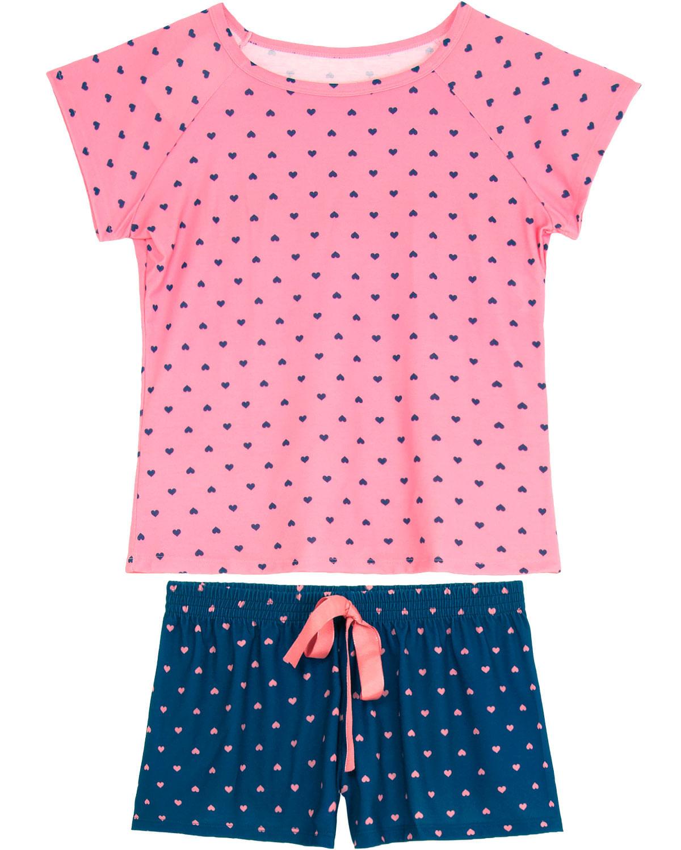 25d65e26d5e56f Shortdoll Recco Malha Touch Corações - Pijama Online