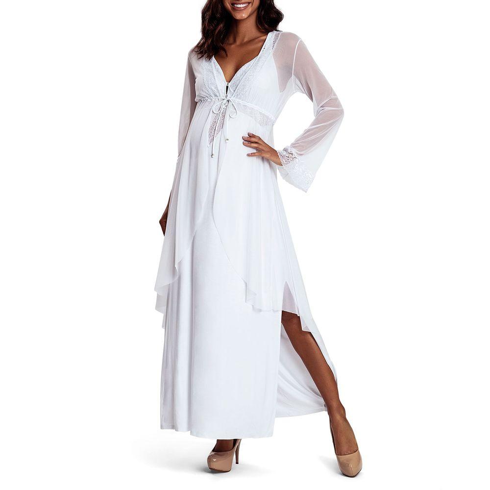 Camisola-Gestante-com-Robe-Recco-Viscolycra-Tule