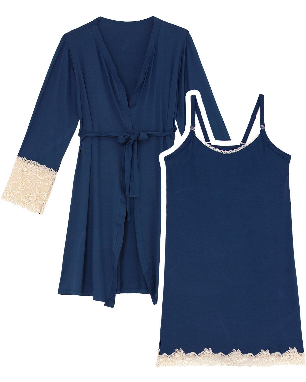 915af5b25 Camisola Gestante com Robe Recco Viscolycra Renda - Pijama Online