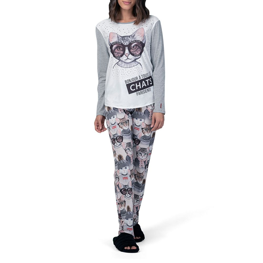 Pijama-Feminino-Lua-Lua-Longo-Mix-de-Malhas-Gatos