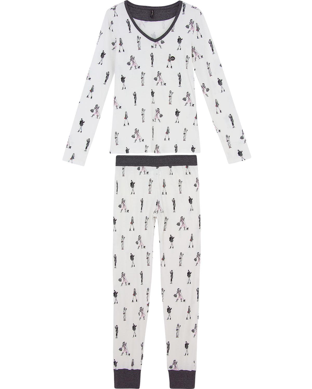 28fdd632d71e7f Pijama Feminino Lua Luá Longo Algodão Look do Dia - Pijama Online