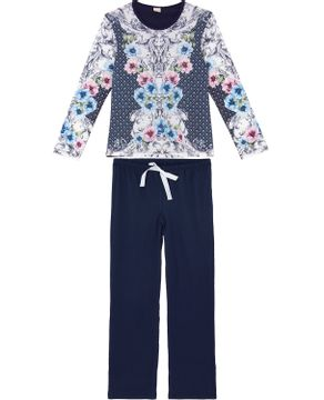 Pijama-Feminino-Lua-Encantada-Longo-Lenco-Floral