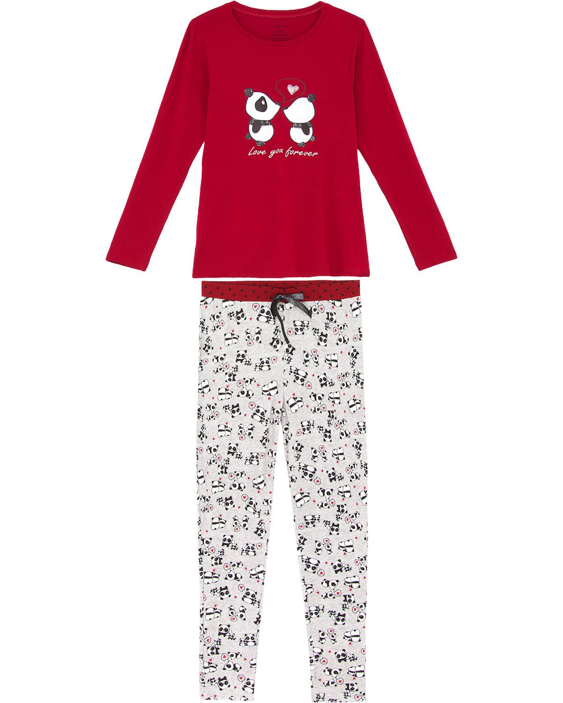 4d3949306e25e2 Pijama Feminino Daniela Tombini Longo Viscolycra Panda | Pijama ...