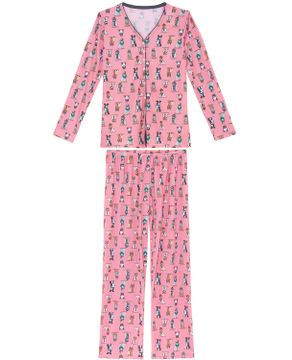 Pijama-Feminino-Recco-Longo-Aberto-Microfibra-Dogs