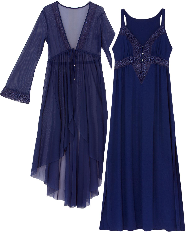74fb8a1b1 Camisola Gestante com Robe Recco Viscolycra Tule R  479.00 ou 4x de R   119.75