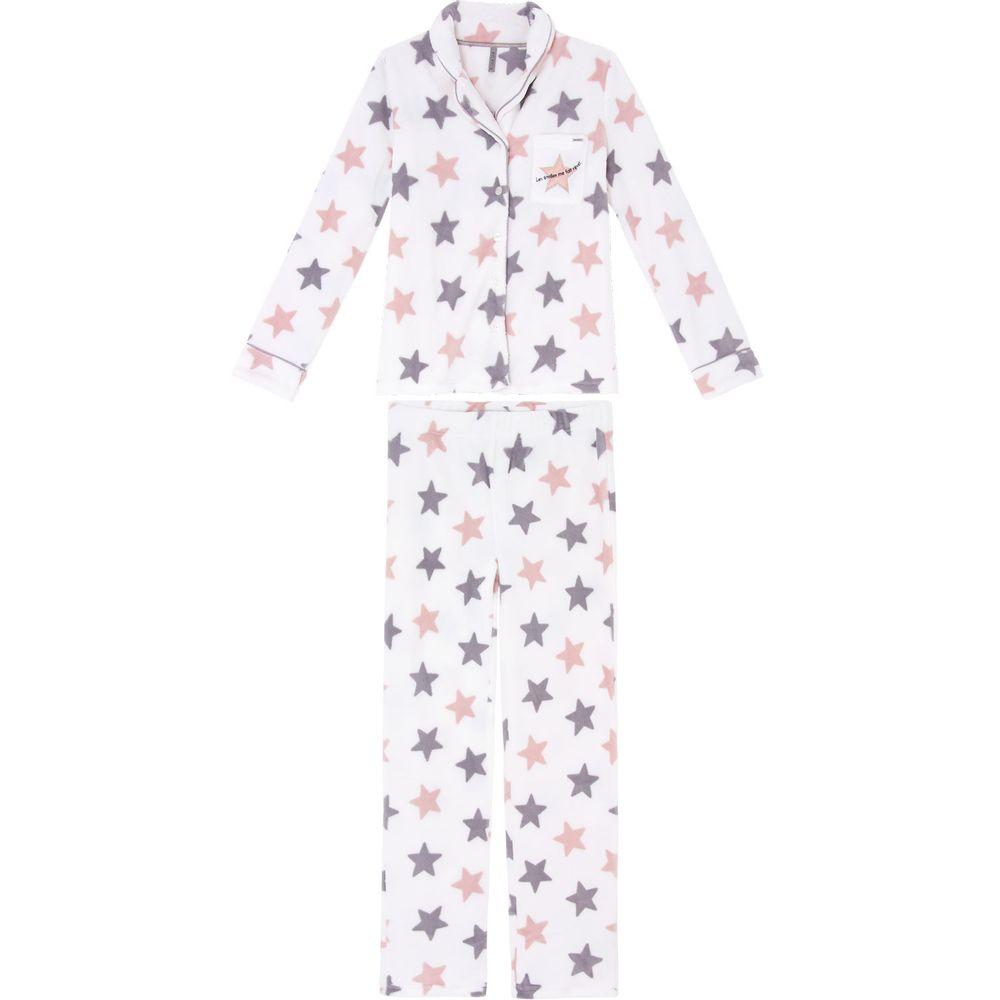 Pijama-Feminino-Lua-Lua-Aberto-Fleece-Estrelas