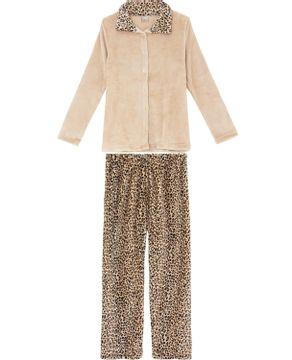 Pijama-Feminino-Recco-Aberto-Longo-Fleece-Onca