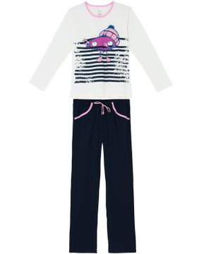 Pijama-Feminino-Recco-Algodao-Monstro-Listras