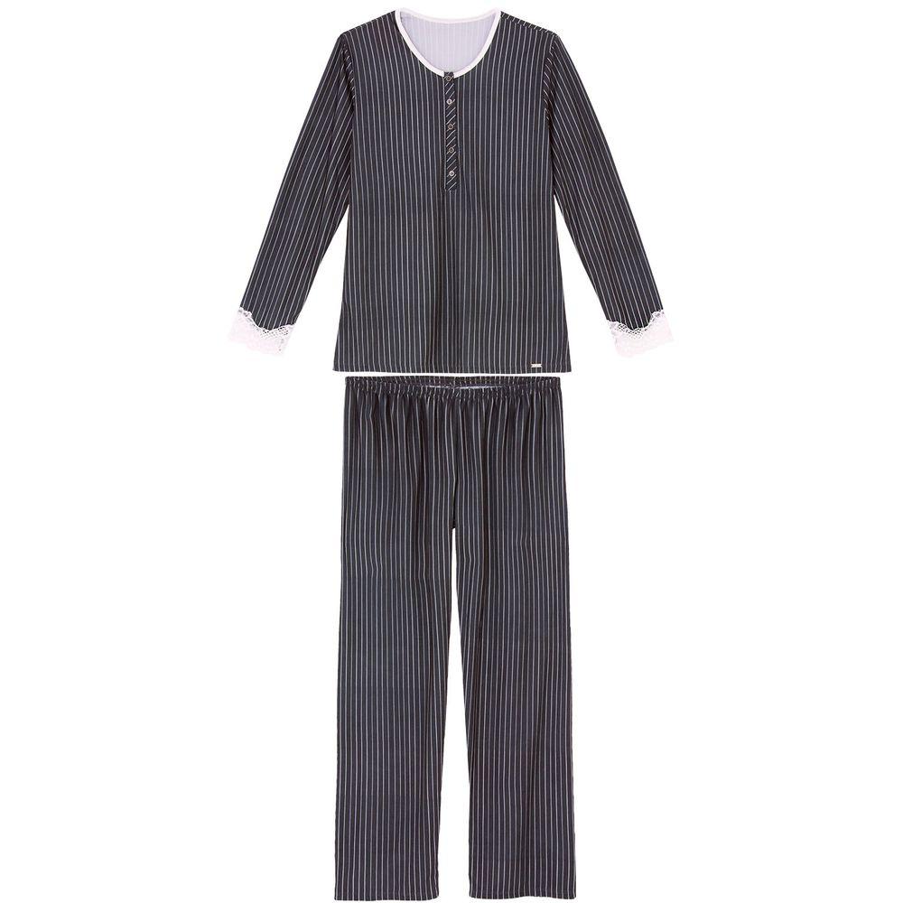 Pijama-Feminino-Recco-Longo-Cetim-Flanelado-Renda