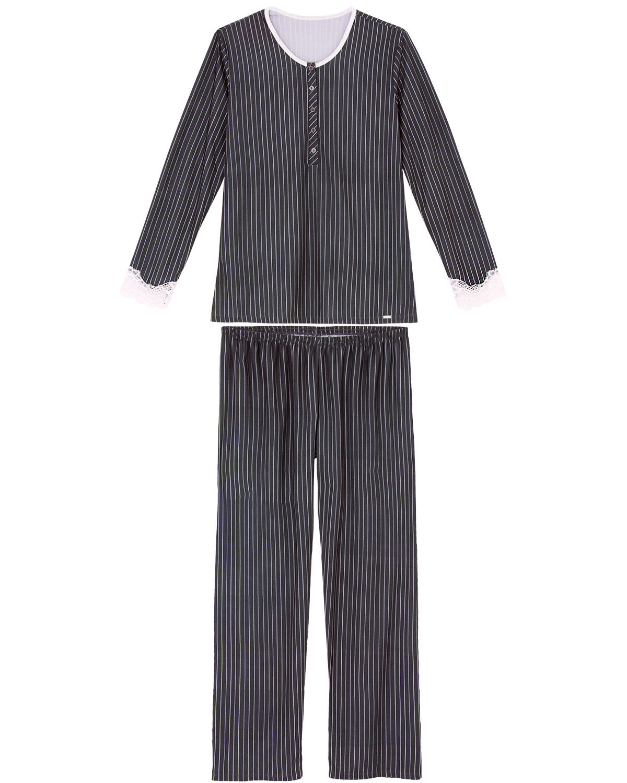 46ef9f432 Pijama Feminino Recco Longo Cetim Flanelado Renda R  385.00 ou 4x de R   96.25