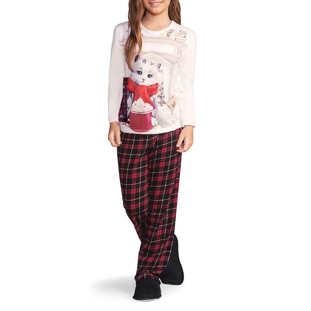 Pijama-Infantil-Feminino-Lua-Encantada-Gato-Xadrez
