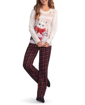 Pijama-Feminino-Lua-Encantada-Algodao-Gato-Xadrez