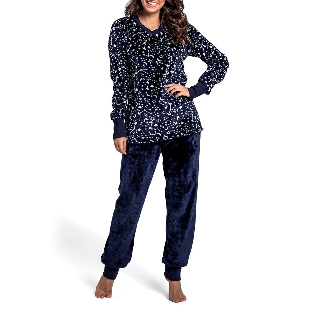 Pijama-Feminino-Recco-Longo-Soft-Estrelas