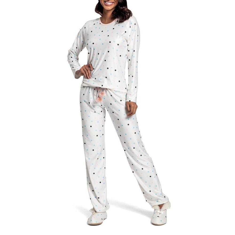 Pijama-Feminino-Recco-Cetim-Flanelado-Poa-Colorido