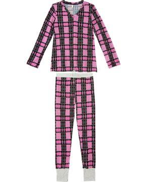 Pijama-Feminino-Joge-Longo-Malha-Tricot-Xadrez