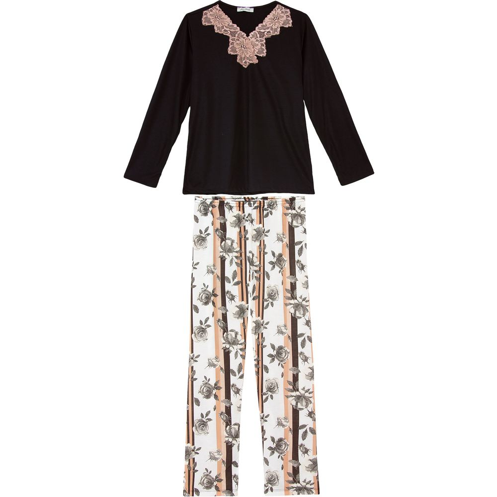 Pijama-Feminino-Lua-Cheia-Renda-Calca-Floral