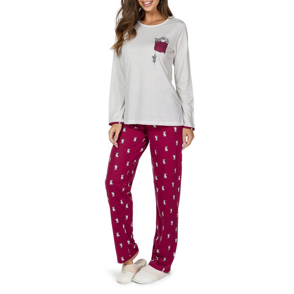 Pijama-Feminino-Lua-Cheia-Longo-Listras-Cachorros
